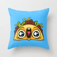 taco Throw Pillows featuring Excited Taco by Artistic Dyslexia