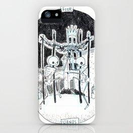 Four of Wands Skeleton Tarot iPhone Case