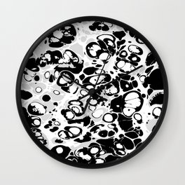 Black white gray ink paint spilled mess splashes platter effect Wall Clock