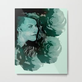 Simone on Teal Roses Metal Print