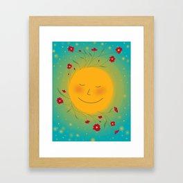 Happy Sun and Poppy Flowers Framed Art Print