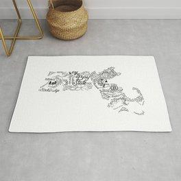 Massachusetts - Hand Lettered Map Rug