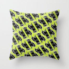 PUG SUKI - SITTING PATTERN - YELLOW Throw Pillow