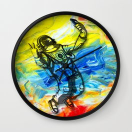 astronauts fly to colorful space Wall Clock
