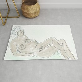 Blue Nude Lounging Fine Art Life Drawing Rug
