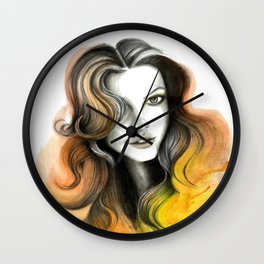 Yellow and Orange Flame Hair Wall Clock