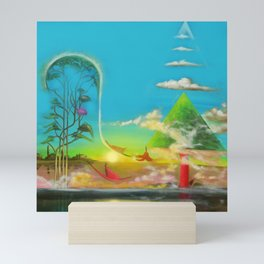 'A Vision of Paradise,' magical realism surreal landscape painting by Salvatore Di Giovanna Mini Art Print
