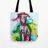 the hound Tote Bags featuring Hound by AlysIndigo