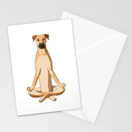 Black Mouth Cur Dog meditate Stationery Cards