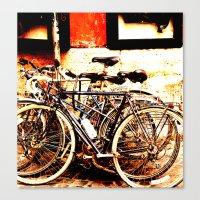 bikes Canvas Prints featuring bikes by Eva Lesko