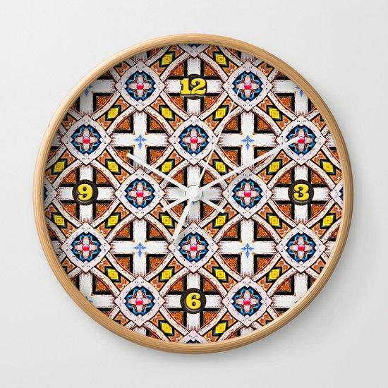 Wooden Cross Screen Pattern Wall Clock