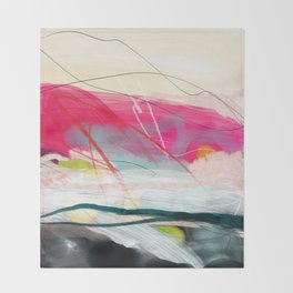 abstract landscape with pink sky over white cloud mountain Throw Blanket