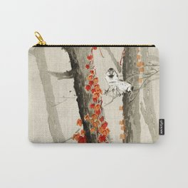 Sparrows in the forest - Vinatage Japanese woodblock print Art Carry-All Pouch
