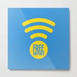 Free Happiness Square Blue Metal Print