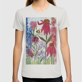 Watercolor Acrylic Cottage Garden Flowers T-shirt