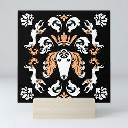 The Spirit of Saluki Damask (Black) Mini Art Print