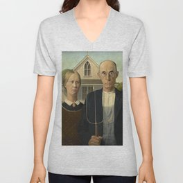American Gothic Oil Painting by Grant Wood Unisex V-Neck