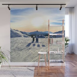 The snow, signs, shadows, sun, sky - and the surrounding! Wall Mural