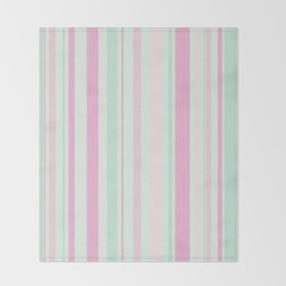 Pastel Pink, Purple, Green and Yellow Stripes Throw Blanket