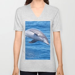 Wild bottlenose dolphin jumping off the Canary Islands Unisex V-Neck