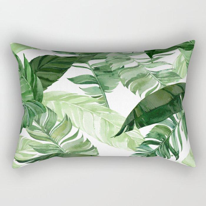 Green leaf watercolor pattern Rectangular Pillow