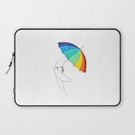 Beach Umbrella Girl n5, rainbow colors, hearts bikini, simple lines drawing, white Laptop Sleeve
