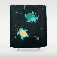 turtles Shower Curtains featuring Space Turtles by Maike Vierkant