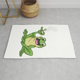 Frog as smoker with cigarette Rug