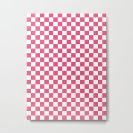 Small Checkered - White and Dark Pink Metal Print