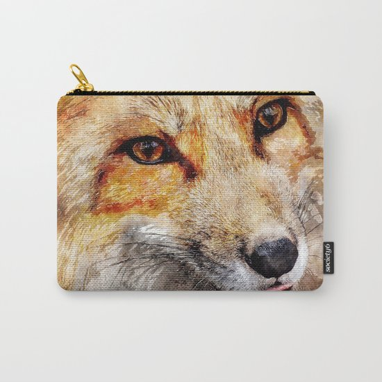 Cute Fox  animal nature watercolor illustration Carry-All Pouch