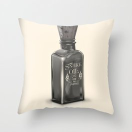 """Snake Oil """"Cure All Ailments"""" Bottle Throw Pillow"""