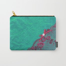 Claire´s treasure I - Pink lace,ribbon and pearl on aqua backround Carry-All Pouch