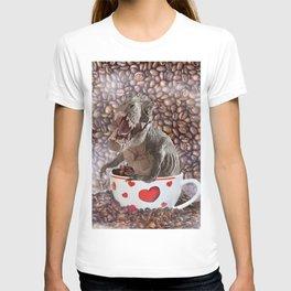 Cute T-Rex Dinosaur Coffee Love & Self-Care T-shirt