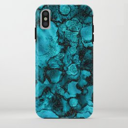 Blue Gemstone and Ink Malachite Glitter Marble iPhone Case