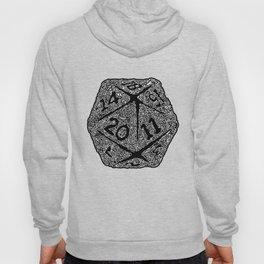 d20 - white on black - icosahedron doodle pattern Hoody