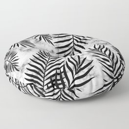 Black palm leaves on marble Floor Pillow