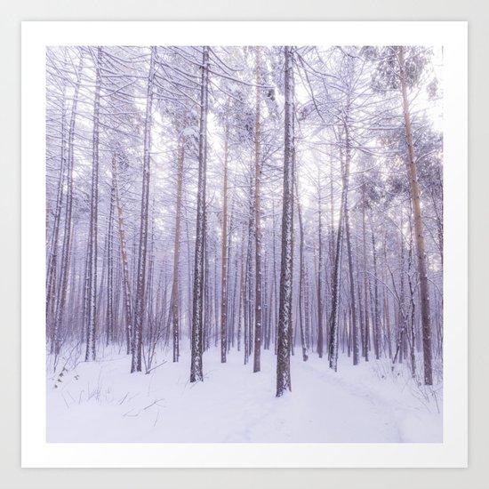 Snow in Trees Art Print