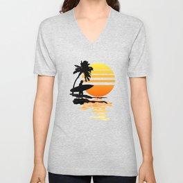 Surfing Sunrise Unisex V-Neck