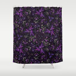 Purple Night Glow Flower Meadow , Rich Fuchsia Pink and Lilac Blooms Glowing in the Dark Black Night Shower Curtain