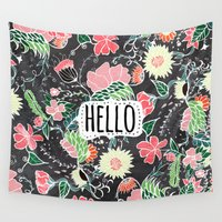 preppy Wall Tapestries featuring Pastel preppy flowers Hello typography chalkboard by Girly Trend