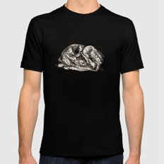 Pink Woodland Creatures - Fawn MEDIUM Mens Fitted Tee Black