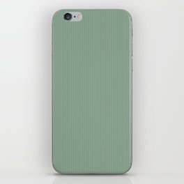 Mini Forest Green and White Rustic Vertical Pin Stripes iPhone Skin