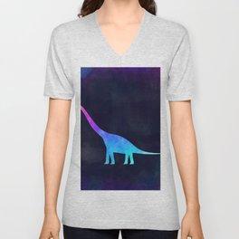 BRACHIOSAURUS IN SPACE // Animal Graphic Art // Watercolor Canvas Painting // Modern Minimal Cute Unisex V-Neck