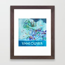 Vancouver Illustrated Map Framed Art Print