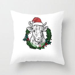 Cow Moooy Christmas Farm Barn Bovine Country Throw Pillow