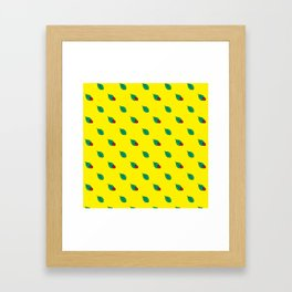 Neon yellow green red floral dots ladybug Framed Art Print