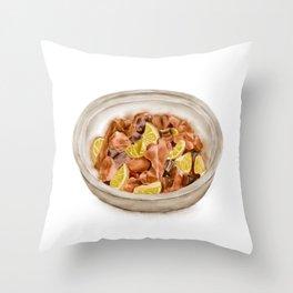 Watercolor Illustration of Chinese Cuisine - Lemon duck   柠檬鸭 Throw Pillow