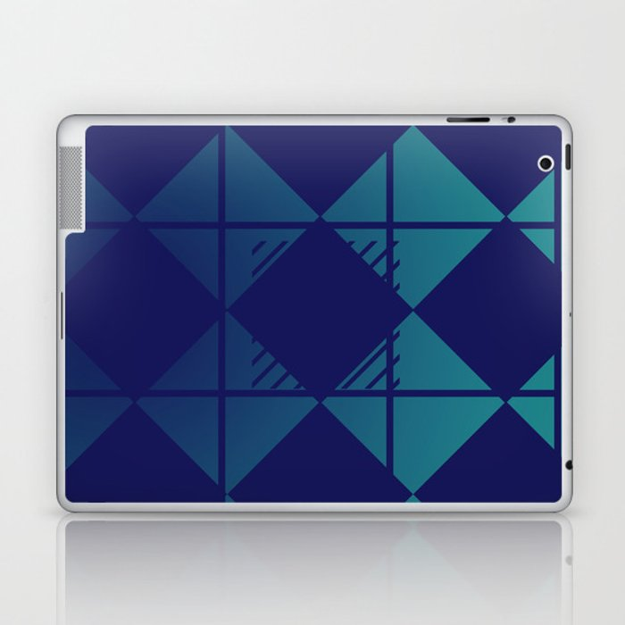 Blue,Diamond Shapes,Square Laptop & iPad Skin