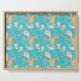 Paisley Hearts Turquoise Serving Tray