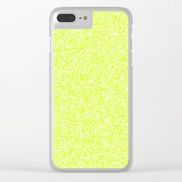Spacey Melange - White and Fluorescent Yellow Clear iPhone Case